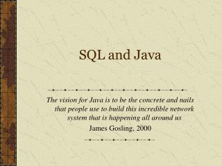 SQL and Java