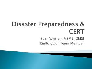 Disaster Preparedness & CERT
