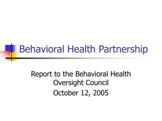 Behavioral Health Partnership