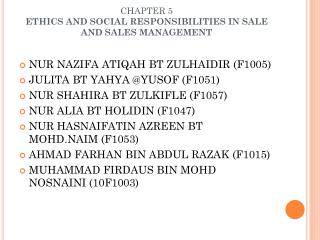 CHAPTER 5  ETHICS AND SOCIAL RESPONSIBILITIES IN SALE AND SALES MANAGEMENT