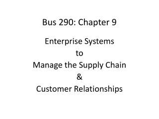 Bus 290: Chapter 9