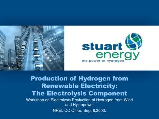 Production of Hydrogen from Renewable Electricity: The Electrolysis Component