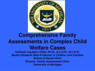 Comprehensive Family  Assessments in Complex Child Welfare Cases