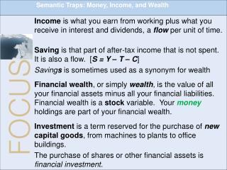 Semantic Traps: Money, Income, and Wealth