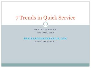 7 Trends in Quick Service