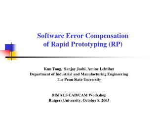 Software Error Compensation  of Rapid Prototyping (RP)