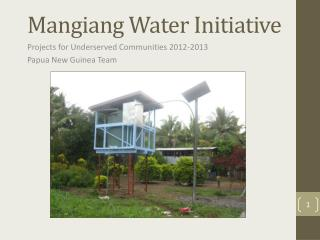 Mangiang Water Initiative