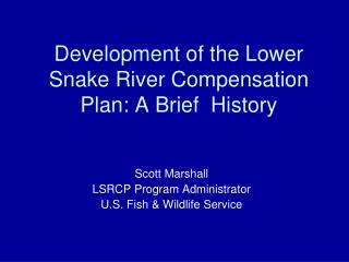 Development of the Lower  Snake River Compensation  Plan: A Brief  History