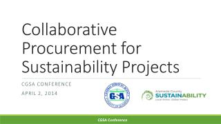 Collaborative Procurement for Sustainability Projects