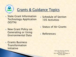 Grants & Guidance Topics