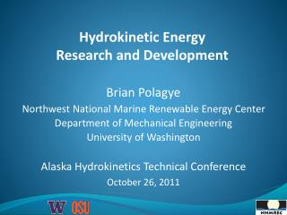 Hydrokinetic  Energy  Research and Development