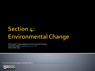 Section 4: Environmental Change