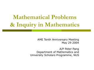 Mathematical Problems  & Inquiry in Mathematics