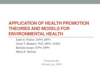 Application of Health Promotion  Theories and  Models  for Environmental  Health