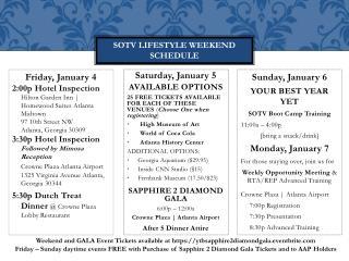 SOTV LIFESTYLE Weekend schedule