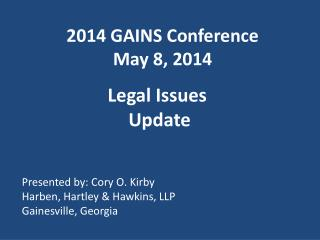 2014 GAINS Conference May 8, 2014