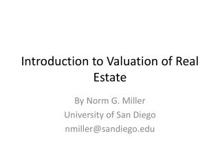 Introduction to Valuation of Real Estate