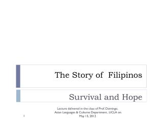 The Story of  Filipinos