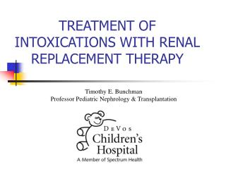 treatment of intoxications with renal replacement therapy