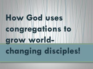 How God uses congregations to  grow world-changing disciples!