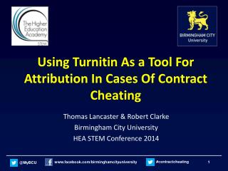 Using Turnitin As a Tool For Attribution In Cases Of Contract Cheating