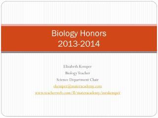 Biology Honors 2013-2014