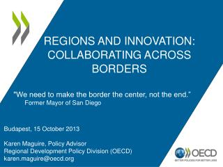Regions and Innovation: Collaborating Across Borders