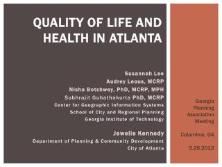 Quality of Life and Health in Atlanta