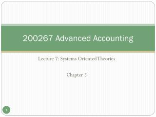 200267 Advanced Accounting