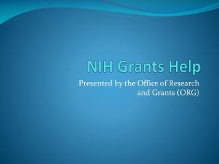 NIH Grants Help