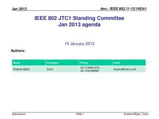 IEEE 802 JTC1 Standing Committee Jan 2013 agenda