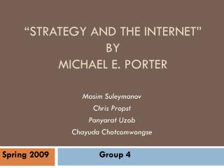 """Strategy and the Internet"" By Michael e. Porter"