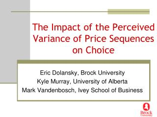 The Impact of the Perceived Variance of Price Sequences on Choice