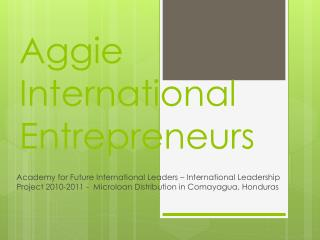 Aggie International Entrepreneurs
