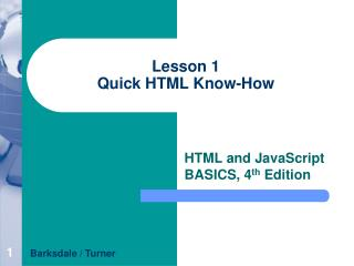 Lesson 1 Quick HTML Know-How