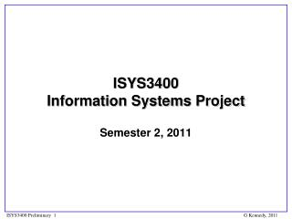ISYS3400  Information  Systems  Project