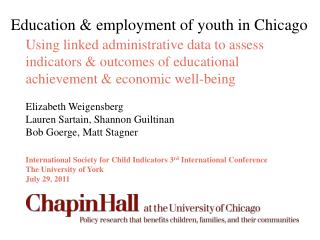 Education & employment of youth in Chicago