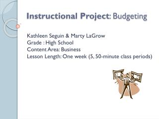 Instructional Project : Budgeting