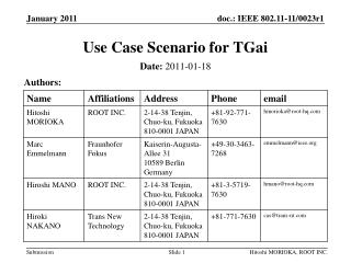 Use Case  Scenario  for  TGai