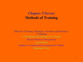 Chapter-7(Seven ) Methods of Training