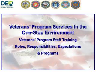 Veterans' Program Services in the One-Stop Environment Veterans' Program Staff Training Roles, Responsibilities, Expect