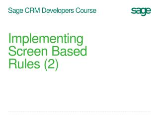 Sage CRM Developers Course
