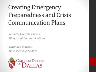 Creating Emergency Preparedness and Crisis  Communication Plans