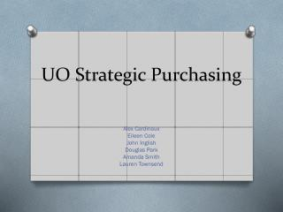 UO Strategic Purchasing
