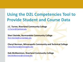 Using the D2L Competencies Tool to Provide Student and Course Data