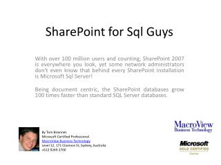 SharePoint for  Sql  Guys