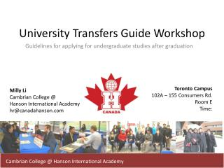 University Transfers Guide Workshop