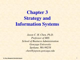 Chapter 3 Strategy and  Information Systems