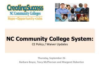 NC Community College System:  CE Policy / Waiver Updates