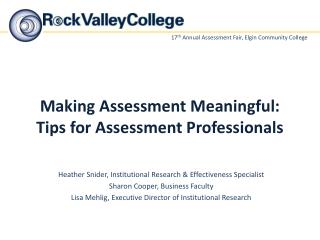 Making Assessment Meaningful: Tips for Assessment Professionals